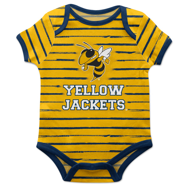 Georgia Tech Stripe Yellow and Blue Boys Onesie Short Sleeve
