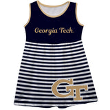 Georgia Tech Yellow Jackets Big Logo Blue And White Stripes Tank Dress - Vive La Fête - Online Apparel Store