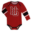 Hampden Sydney Stripes Maroon Long Sleeve Onesie - Vive La Fête - Online Children's Apparel