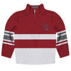 Hampden Sydney Logo Stripes Maroon Long Sleeve Quarter Zip Sweatshirt - Vive La Fête - Online Apparel Store