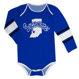 Indiana State University Stripes Blue Long Sleeve Onesie