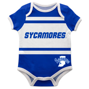 Indiana State University Sycamores Block Stripe Blue Short Sleeve Onesie