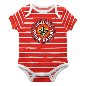 Louisiana At Lafayette Stripe Red and White Boys Onesie SS