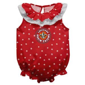 Louisiana At Lafayette Swirls Red Girls Sleeveless Onesie