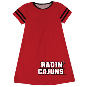 Louisiana At Lafayette Big Logo Red Stripes Short Sleeve A Line Dress