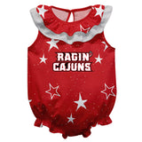 Louisiana At Lafayette Stars Red Girls Sleeveless Onesie