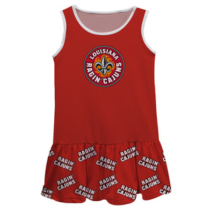 Louisiana At Lafayette Repeat Logo Red Sleeveless Lily Dress - Vive La Fête - Online Children's Apparel