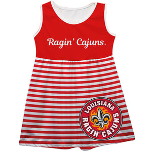 Louisiana At Lafayette Big Logo Red And White Stripes Tank Dress - Vive La Fête - Online Children's Apparel