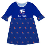 Louisiana Tech Print Blue Amy Dress Three Quarter Sleeve - Vive La Fête - Online Children's Apparel