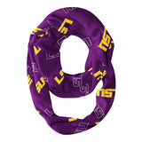 LSU Tigers All Over Logo Purple Infinity Scarf - Vive La Fête - Online Apparel Store