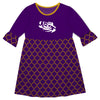 LSU Quatrefoil Purple Amy Dress Three Quarter Sleeve