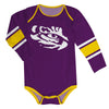 LSU Tigers Stripes Purple Long Sleeve Onesie - Vive La Fête - Online Apparel Store