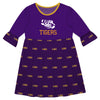 LSU Print Purple Amy Dress Three Quarter Sleeve - Vive La Fête - Online Children's Apparel