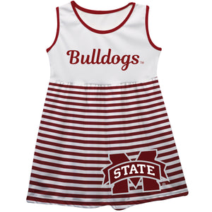 Mississippi State Big Logo Maroon And White Stripes Tank Dress