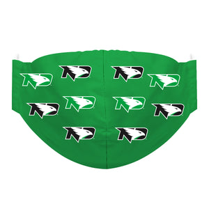 North Dakota Bisons Face Mask Green All Over Logo
