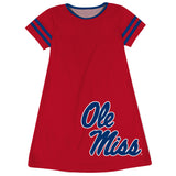 Mississippi Rebels Big Logo Red Stripes Short Sleeve A Line Dress
