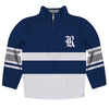 Rice Owls Logo Stripes Blue Long Sleeve Quarter Zip Sweatshirt