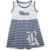 Rice Owls Big Logo Blue And White Stripes Tank Dress - Vive La Fête - Online Apparel Store