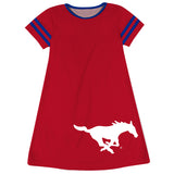 SMU Mustangs Big Logo Red Stripes Short Sleeve A Line Dress - Vive La Fête - Online Children's Apparel