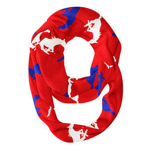 SMU Mustangs All Over Logo Red Infinity Scarf