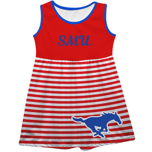 SMU Mustangs Big Logo Red And White Stripes Tank Dress - Vive La Fête - Online Children's Apparel