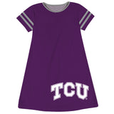 TCU Honed Frogs Big Logo Purple Stripes Short Sleeve A Line Dress - Vive La Fête - Online Children's Apparel