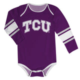 TCU Honed Frogs Stripes Purple Long Sleeve Onesie - Vive La Fête - Online Children's Apparel