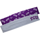 TCU Honed Frogs Gray Solid And Purple Repeat Logo Headband Set