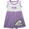 TCU Horned Frogs Big Logo Purple And White Stripes Tank Dress - Vive La Fête - Online Apparel Store