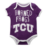 TCU Honed Frogs Purple Solid Short Sleeve Onesie - Vive La Fête - Online Children's Apparel