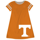 Tennessee Big Logo Orange Stripes Short Sleeve A Line Dress