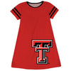 Texas Tech Big Logo Red Stripes Short Sleeve A Line Dress - Vive La Fête - Online Children's Apparel