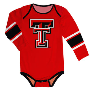 Texas Tech Stripes Red Long Sleeve Onesie - Vive La Fête - Online Children's Apparel