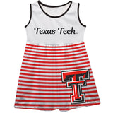 Texas Tech Big Logo Red And White Stripes Tank Dress
