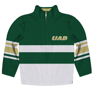 Alabama At Birmingham Logo Stripes Green Long Sleeve Quarter Zip Sweatshirt