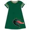 Alabama At Birmingham Big Logo Green Stripes Short Sleeve A Line Dress - Vive La Fête - Online Children's Apparel