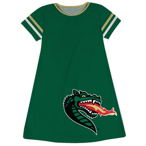Alabama At Birmingham Big Logo Green Stripes Short Sleeve A Line Dress