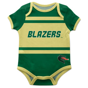 Alabama At Birmingham Blazers Block Stripe Green Short Sleeve Onesie - Vive La Fête - Online Children's Apparel