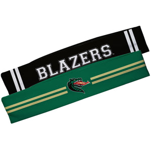 Alabama At Birmingham Green And Black Stripes Headband Set - Vive La Fête - Online Children's Apparel