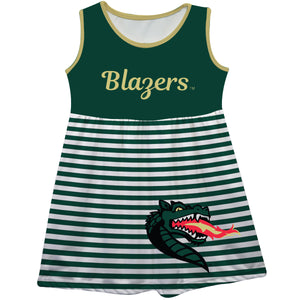 Alabama At Birmingham Big Logo Green And White Stripes Tank Dress - Vive La Fête - Online Children's Apparel