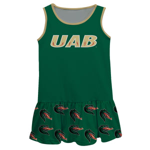 Alabama At Birmingham Repeat Logo Green Sleeveless Lily Dress