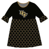 Central Florida Quatrefoil Black Amy Dress Three Quarter - Vive La Fête - Online Apparel Store