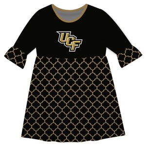 Central Florida Quatrefoil Black Amy Dress Three Quarter - Vive La Fête - Online Children's Apparel