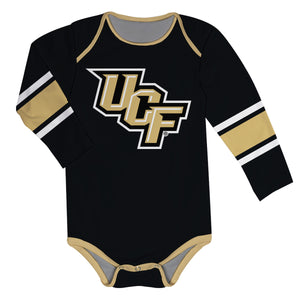 Central Florida Stripes Black Long Sleeve Onesie