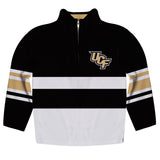 Central Florida Logo Stripes Black Long Sleeve Quarter Zip Sweatshirt