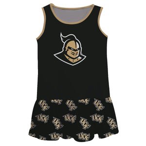 Central Florida Repeat Logo Black Sleeveless Lily Dress - Vive La Fête - Online Children's Apparel