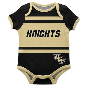 Central Florida knights Block Stripe Black Short Sleeve Onesie