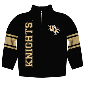 Central Florida Stripes Black Long Sleeve Quarter Zip Sweatshirt