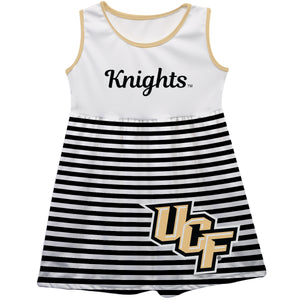 Central Florida Big Logo Black And White Stripes Tank Dress - Vive La Fête - Online Children's Apparel