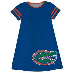 Florida Big Logo Blue Stripes Short Sleeve A Line Dress - Vive La Fête - Online Children's Apparel